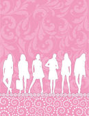Girls silhouettes on pink pattern — Stock Vector