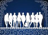 青パターンに若い人々 のシルエット — ストックベクタ