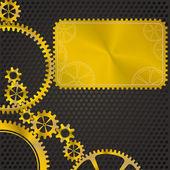 Golden gear frame — Stockvektor