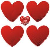 Red maze hearts set — Stock Vector