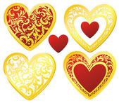 Golden decorated hearts set — Stock Vector
