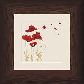 Painting of red poppies in wooden frame — Stock Vector