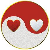 Yin yang as hearts — Vecteur