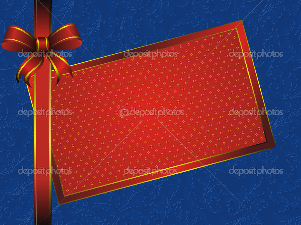 Golden pattern frame with red bow on blue background with vintage decor  Stock Vector #8769646