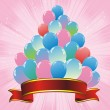 Royalty-Free Stock Vector Image: Colorful balloons pyramid and red ribbon