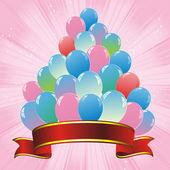 Colorful balloons pyramid and red ribbon — Stock Vector