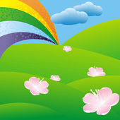 彩虹在绿色草地上 — 图库矢量图片