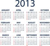 Calendario 2013 vector — Vector de stock