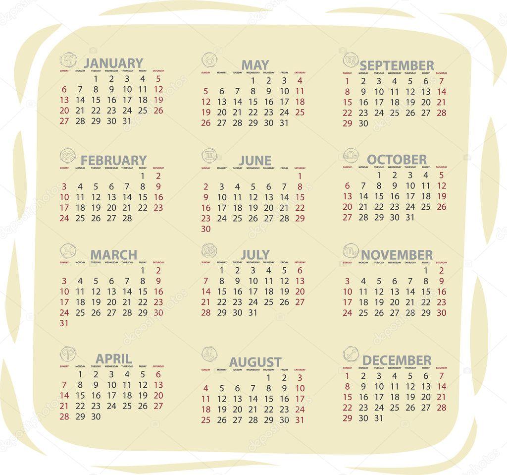 2013 vector calendar — Stock Vector © AlexCiopata #9739795