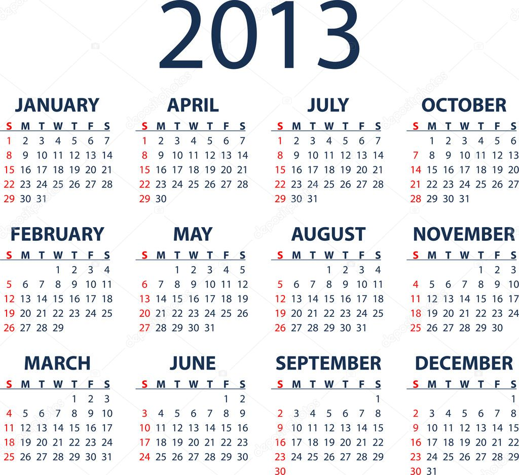 Simple full editable 2013 vector calendar - weeks start Sunday — Stock Vector #9739841