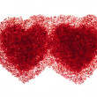 Two hot red hearts — Stock Photo