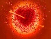 Warm rood hart doorboord met een pijl — Stockfoto