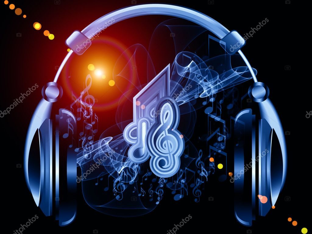 Headphones Music Notes: Stock Photo © Agsandrew