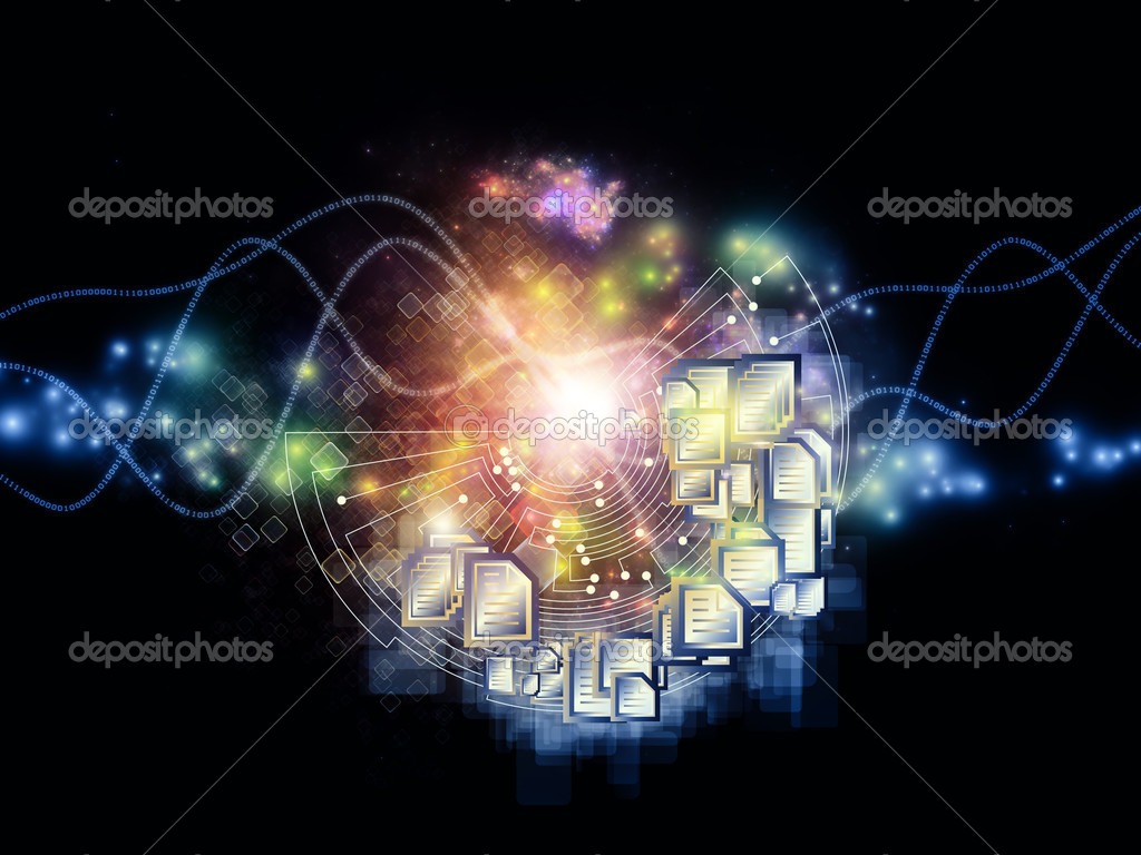 Background design of document symbols, lights and abstract technology elements on the subject of document processing, messaging, cloud storage and related technologies — Foto Stock #10491942