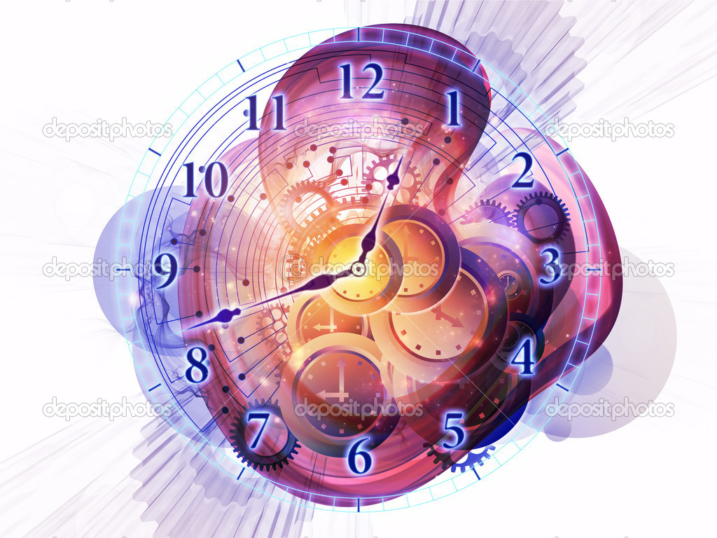 Abstract design made of gears, clock elements, dials and dynamic swirly lines on the subject of scheduling, deadlines, progress, past, present and future — Stock Photo #10562879