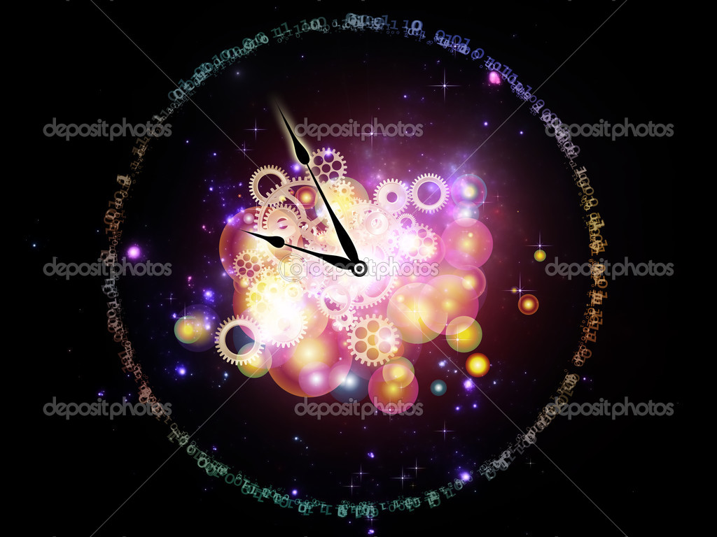 Interplay of clock elements, digits, lights and abstract graphics on the subject of time, digital technology, progress, past, present and future — Stock Photo #8137665