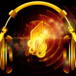 Music over headphones — 图库照片