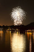 Fireworks Over a river — Stock Photo