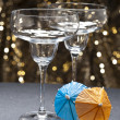 Margarita glass in front of glitter background — Stock Photo