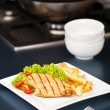 Chicken, French fries and salad — Stock Photo