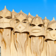 BARCELONA - 2011 December 15: Chimneys covered with ceramic frag — Stock Photo