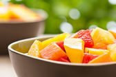 Two bowl of Mixed tropical fruit salad — Stock Photo