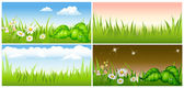 Set summer background green meadow — Stock Vector