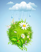 Summer background with rain — Stock Vector