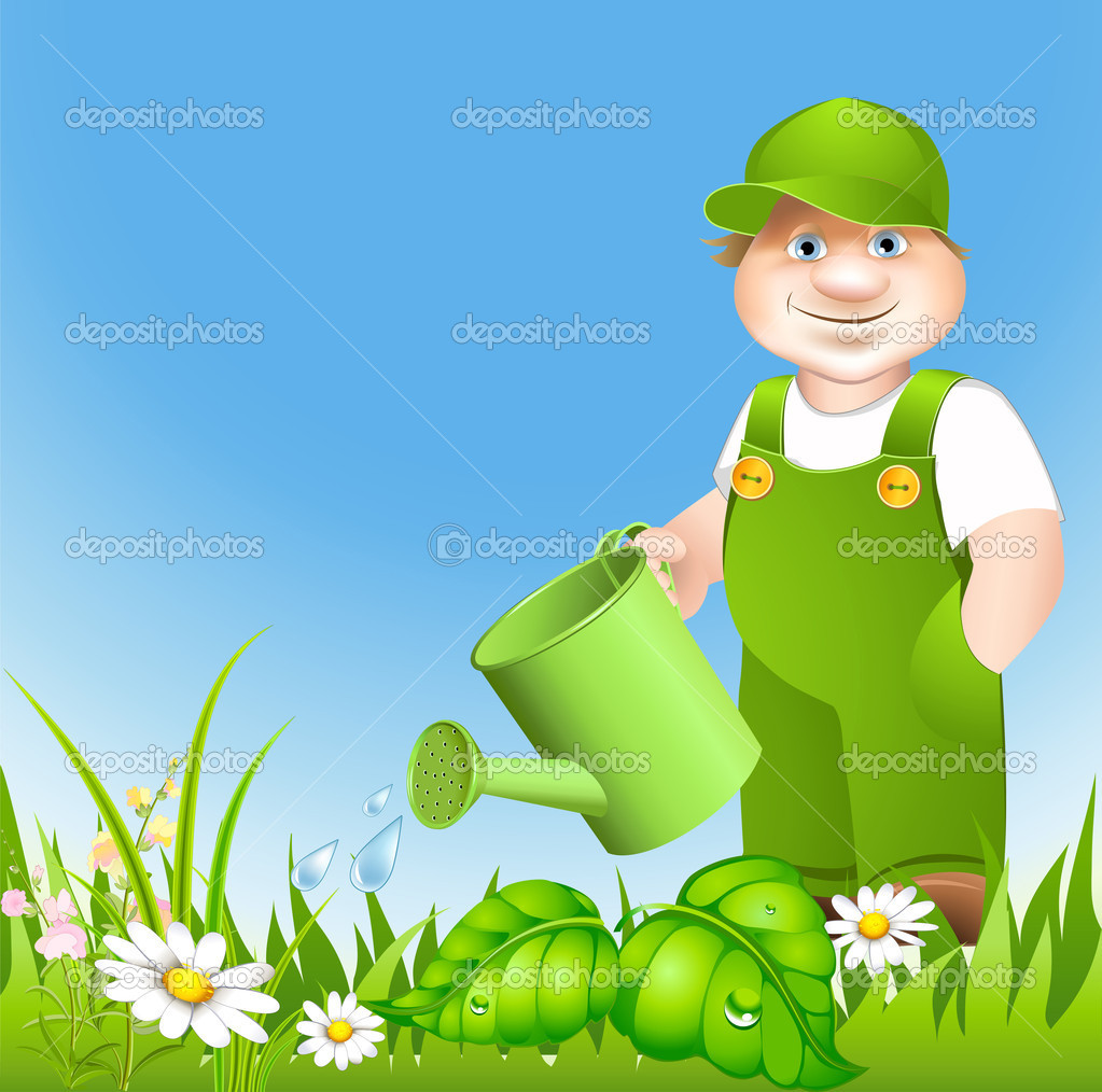 Cartoon gardener waters from sprinkling meadow with flowerses  Stock Vector #10501925