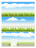 Set fence, on background blue sky with cloud — Stock Vector