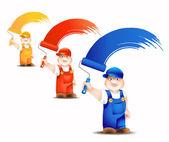 Cartone animato di lavoratore con platina coloranti superficie - impostare — Vettoriale Stock
