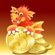 Stock Vector: Red dragon illustration of Cute Cartoon with golden coin
