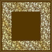 Square frame from floral pattern in vintage style — Stock Vector