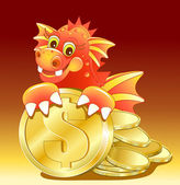Red dragon illustration of Cute Cartoon with golden coin — Stock Vector