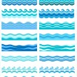 Set - seamless sea waves — Imagen vectorial