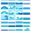 Set topics with stylized waves — Stock Vector