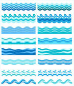 Set - seamless sea waves — Vector de stock