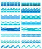 Set - seamless sea waves — Stock Vector