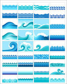 Set topics with stylized waves — Stockvector