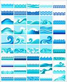 Set aus 50 themen mit stilisierten wellen — Stockvektor