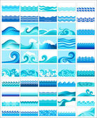 Set from 50 topics with stylized waves — Wektor stockowy
