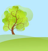 Abstract background spring tree with green leaves — Stockvektor