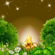 Royalty-Free Stock Vector Image: Cartoon blossoming night landscape