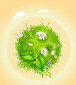 Cartoon blossoming globe — Stock Vector