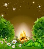 Cartoon blossoming night landscape — Stock Vector