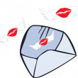 Envelope with flying kisses — Stock Vector