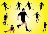 Several soccer players shooting a ball — Stock Vector