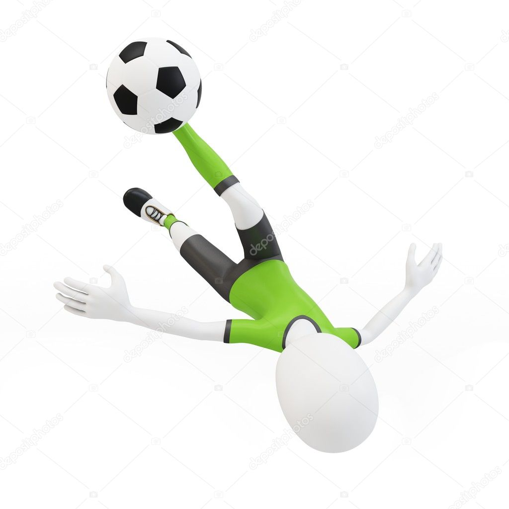 3d man soccer player with ball on white background — Stock Photo #10244346