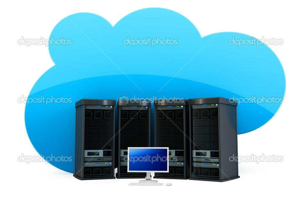 3d Cloud computing concept severs and terminal on white background  Stock Photo #10367671