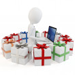 3d man businessman with gift boxes — Stock Photo #8000212